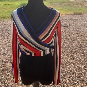 Multicolored stripped long sleeve top